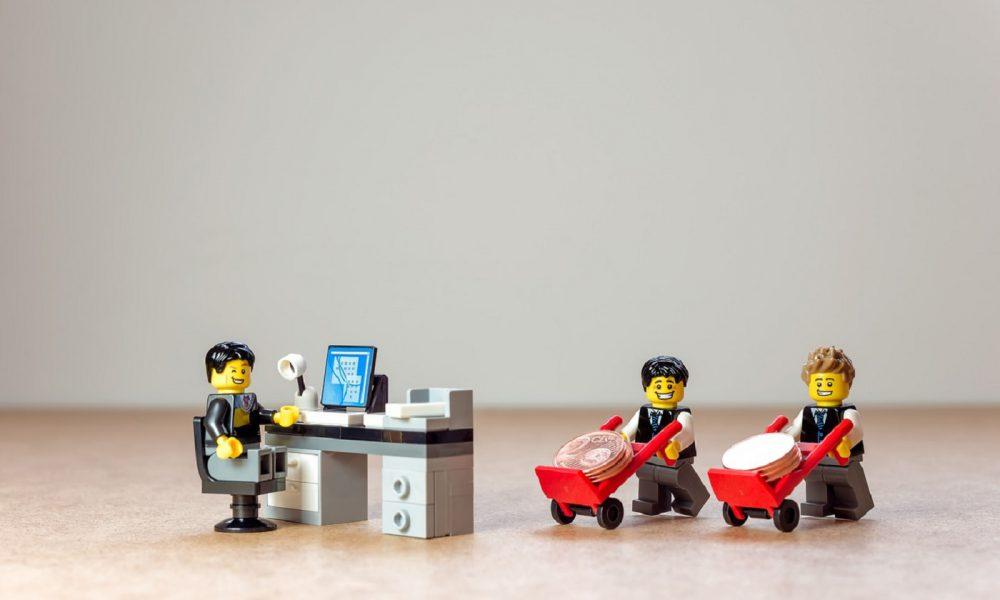 Lego, bureau, ordinateur
