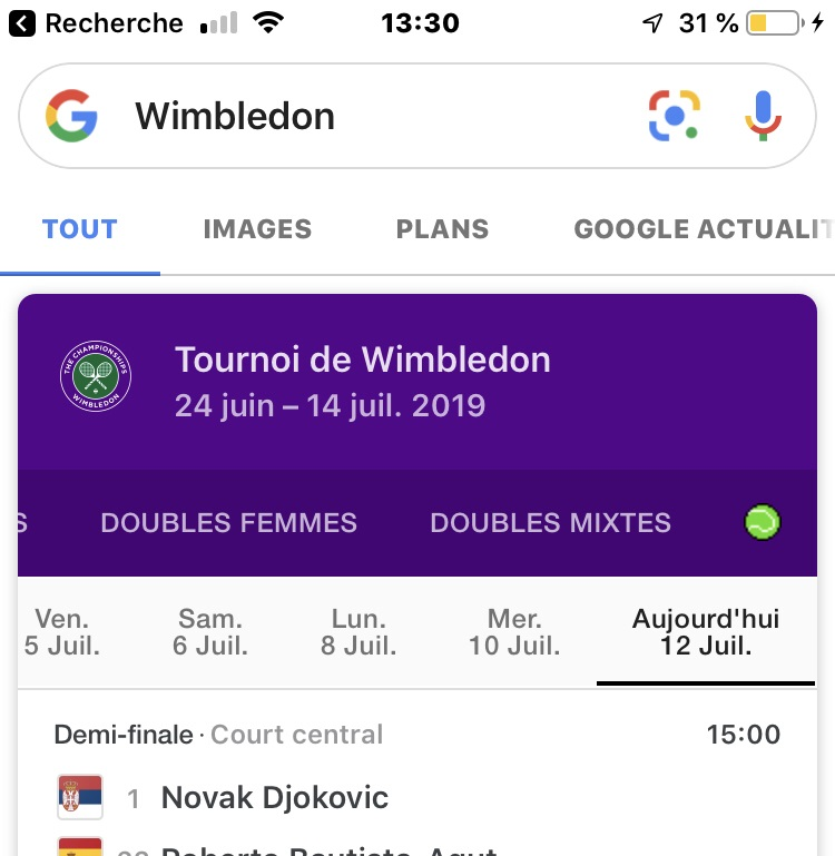 Google a un jeu de tennis caché — Easter Egg