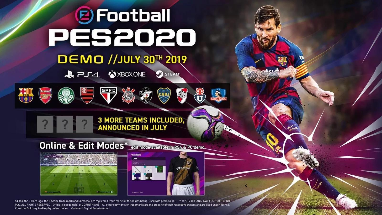 Démo eFootball PES 2020 30 Juillet 2019