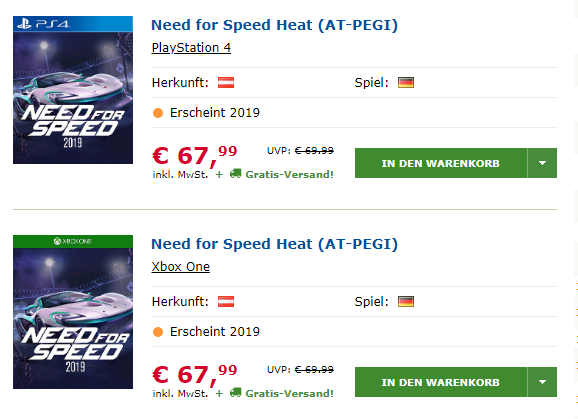 Fiche Need For Speed Heat 2019