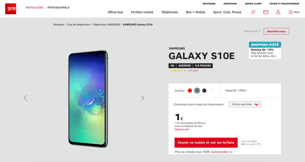 SFR Samsung Galaxy S10e