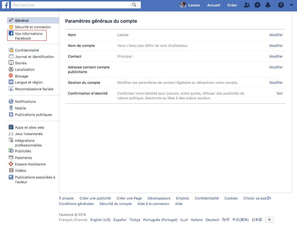 Supprimer compte facebook informations