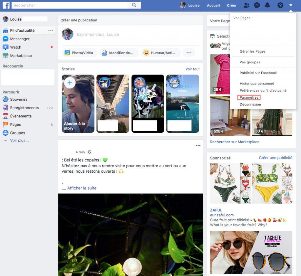 Supprimer compte facebook paramètres