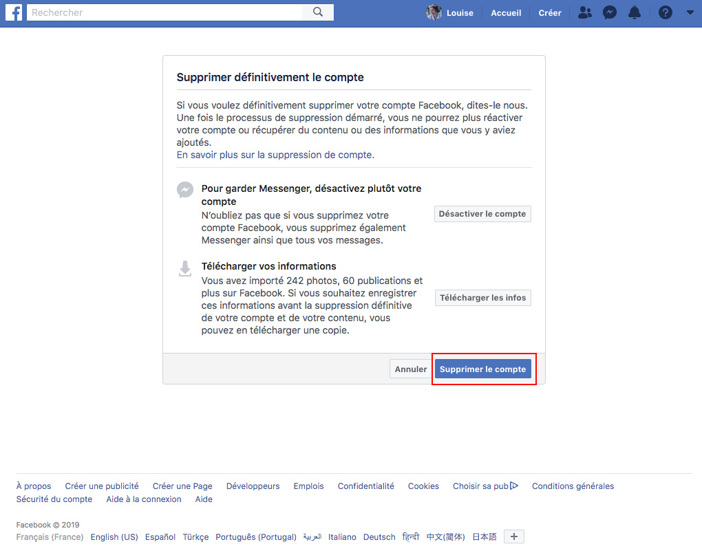 Supprimer compte facebook suppression
