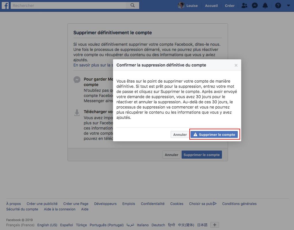Supprimer compte facebook validation