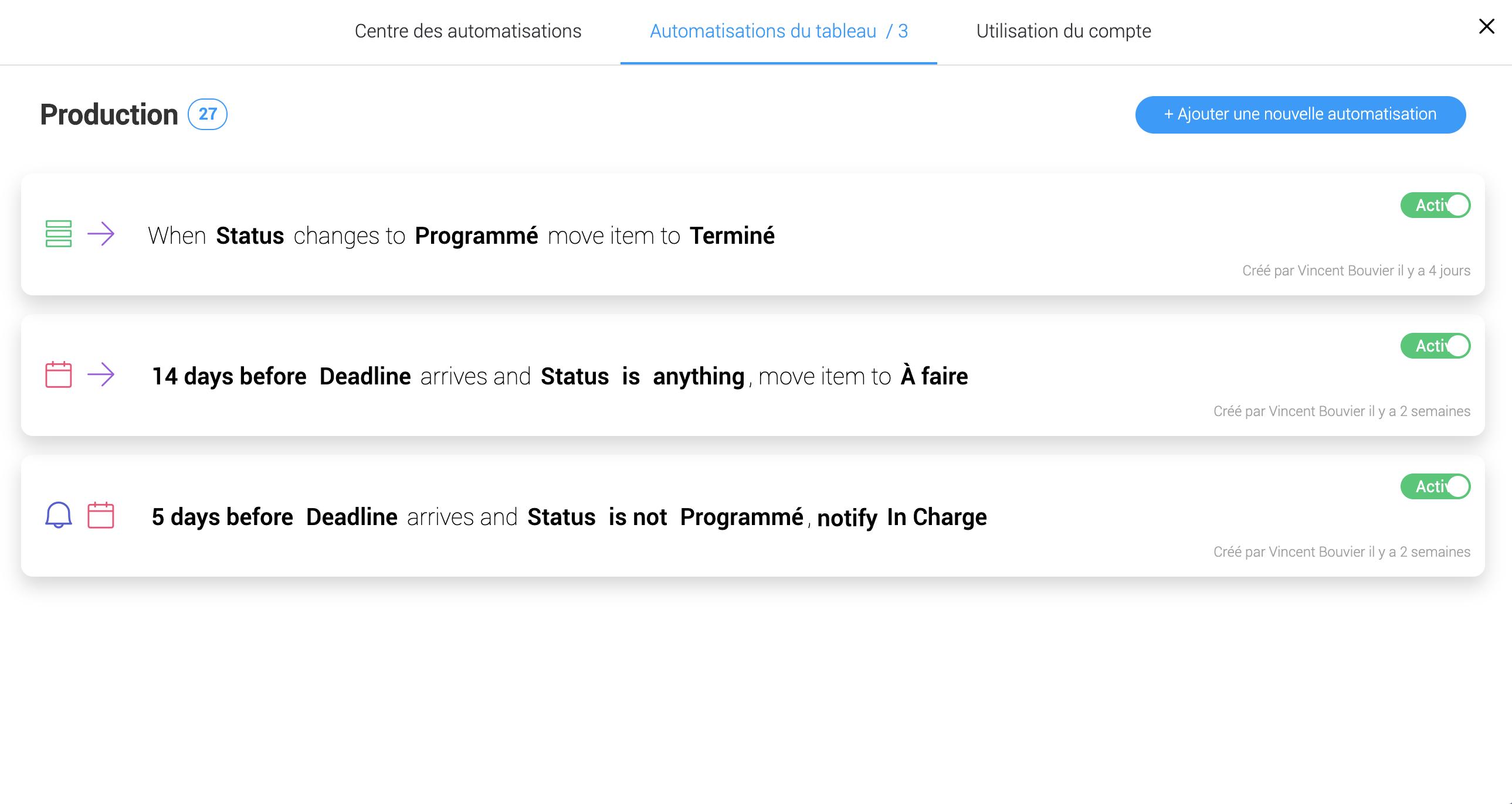 Automatisations Monday.com