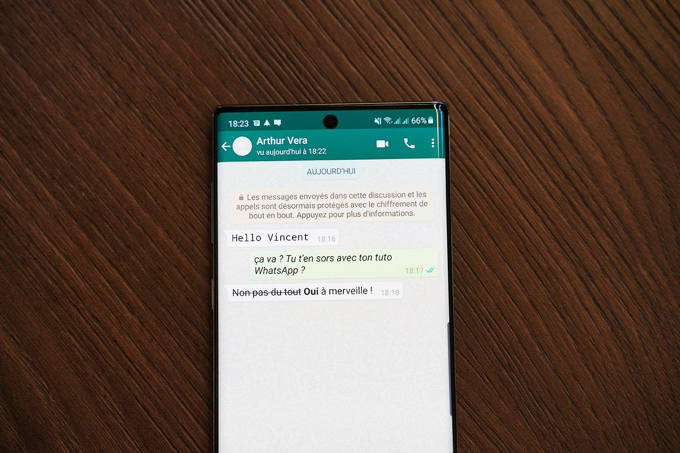 WhatsApp changement typo