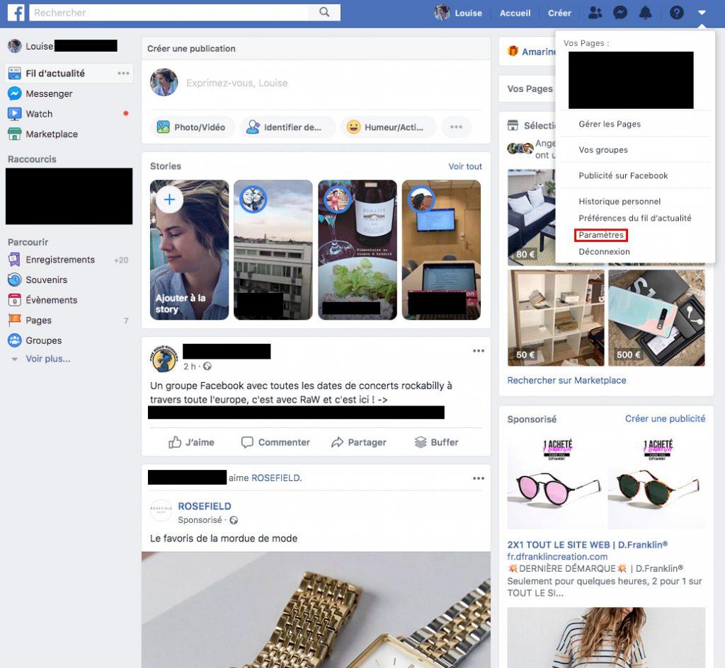Facebook changer de nom paramètres