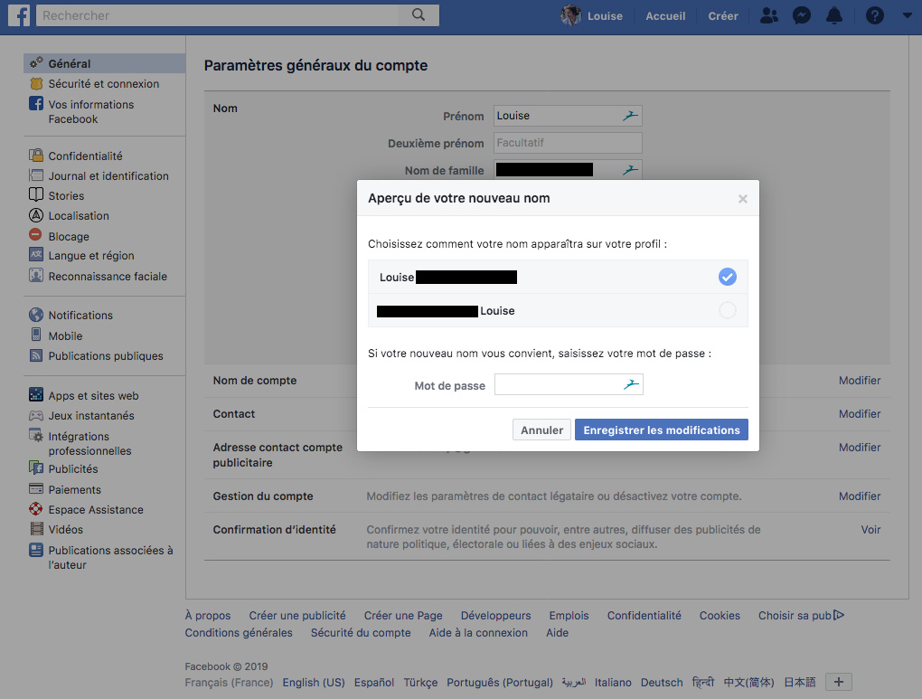 Facebook changer de nom validation