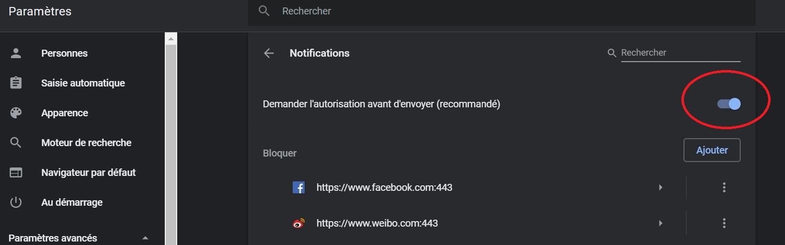 Bloquer les notifications Chrome