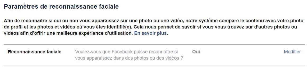 La reconnaissance faciale sur Facebook