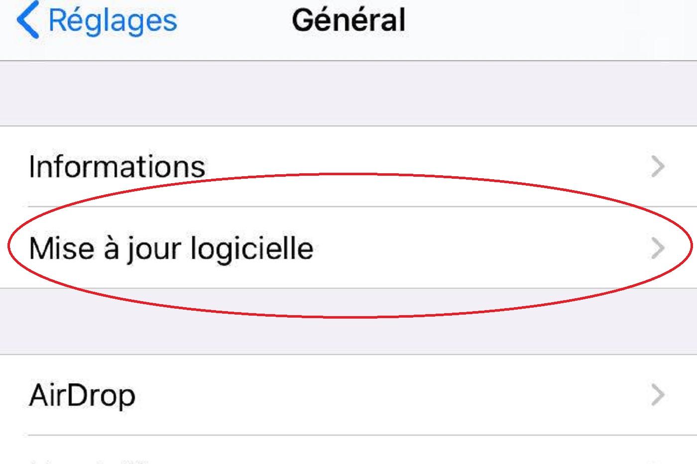 Mise à jour de l'iPhone vers iOS 13