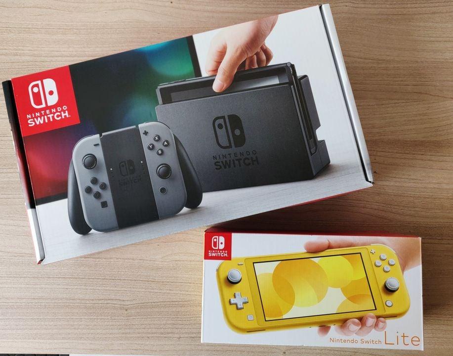 Nintendo Switch  Lite och Nintendo Switch Klassisk förpackning
