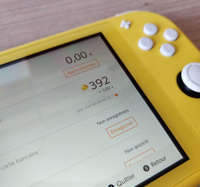 Kontrollera antalet guldpoäng Nintendo Switch