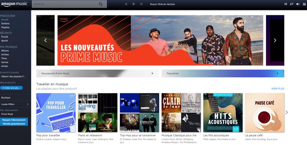 Amazon Music design desktop