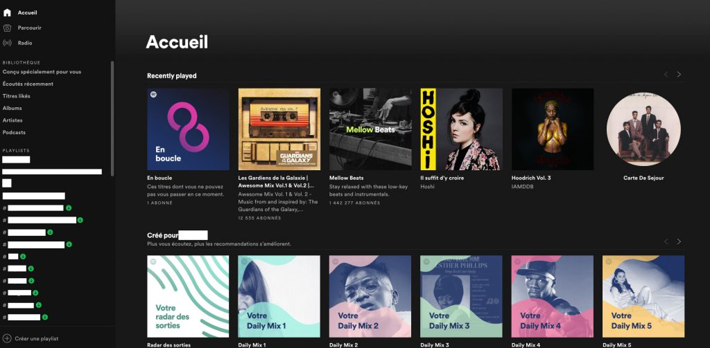 Spotify design desktop