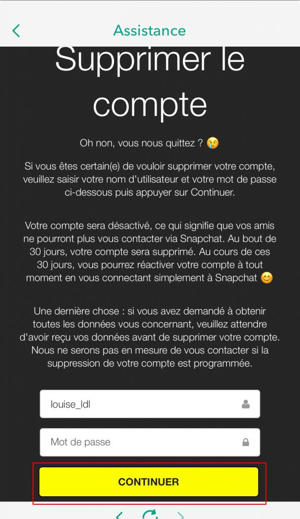 Supprimer compte snapchat validation mobile