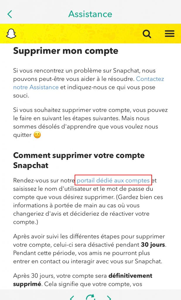 Supprimer compte snapchat portail