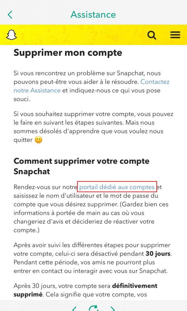 Ta bort snapchat-portal för konto