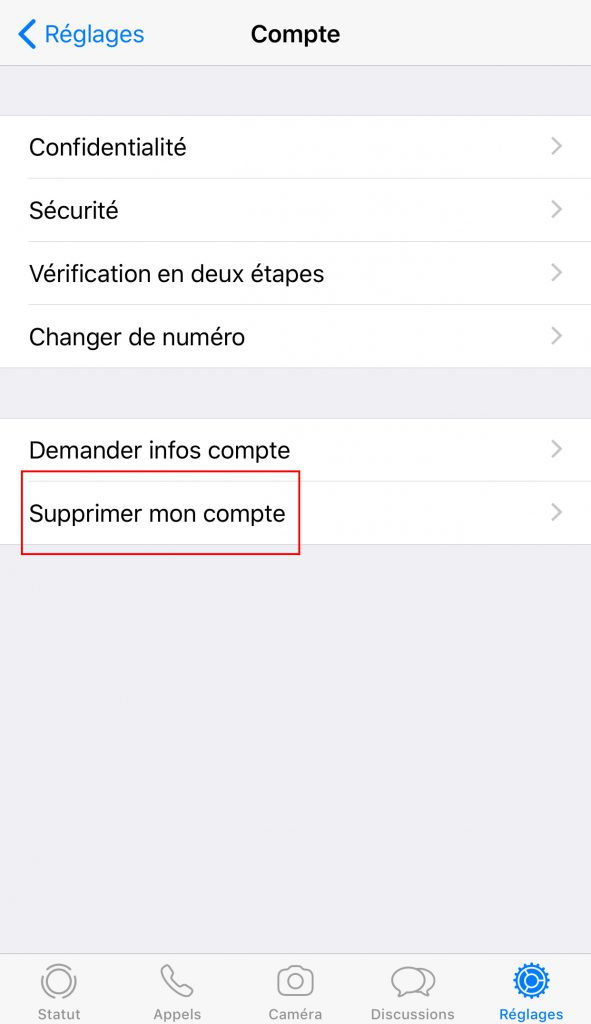 Supprimer compte Whatsapp compte