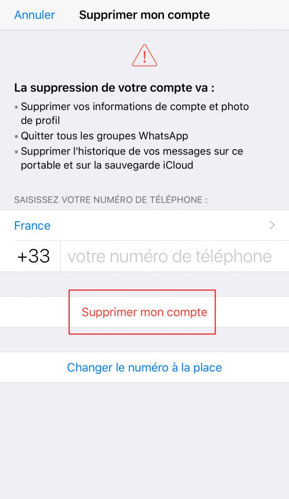 Supprimer compte Whatsapp validation