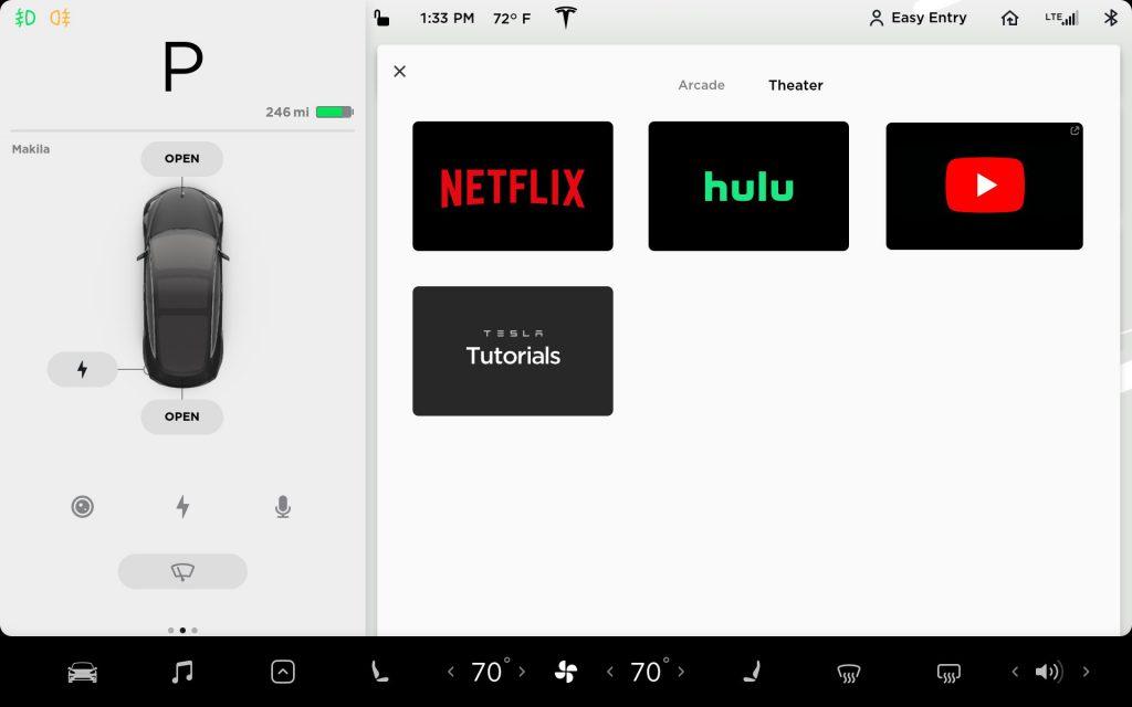 Tesla V10 streaming Netflix