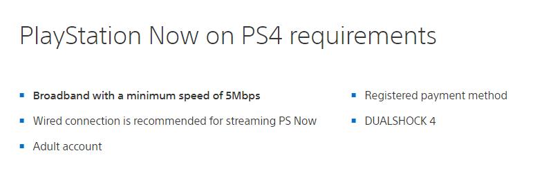 PS Now Minimum réseau Mb/s