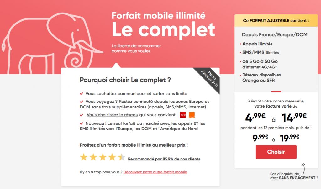 forfait mobile Prixtel Le complet