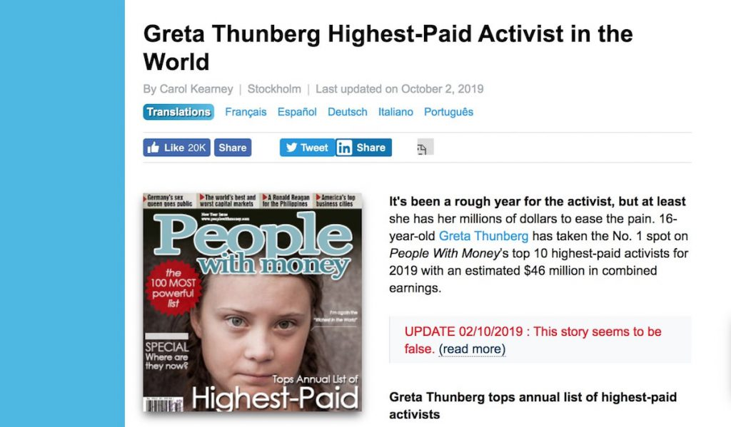 Greta Thunberg fake news