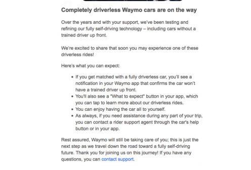 mail waymo voiture autonome
