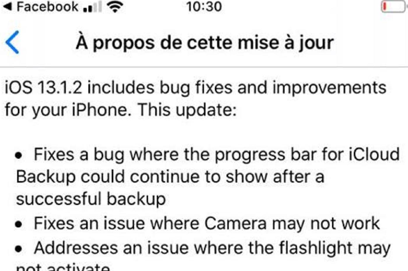 mise à jour iOS 13