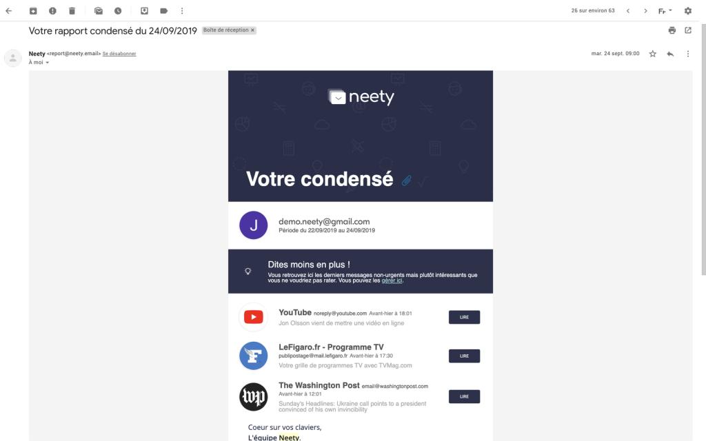 Neety condensé inbox