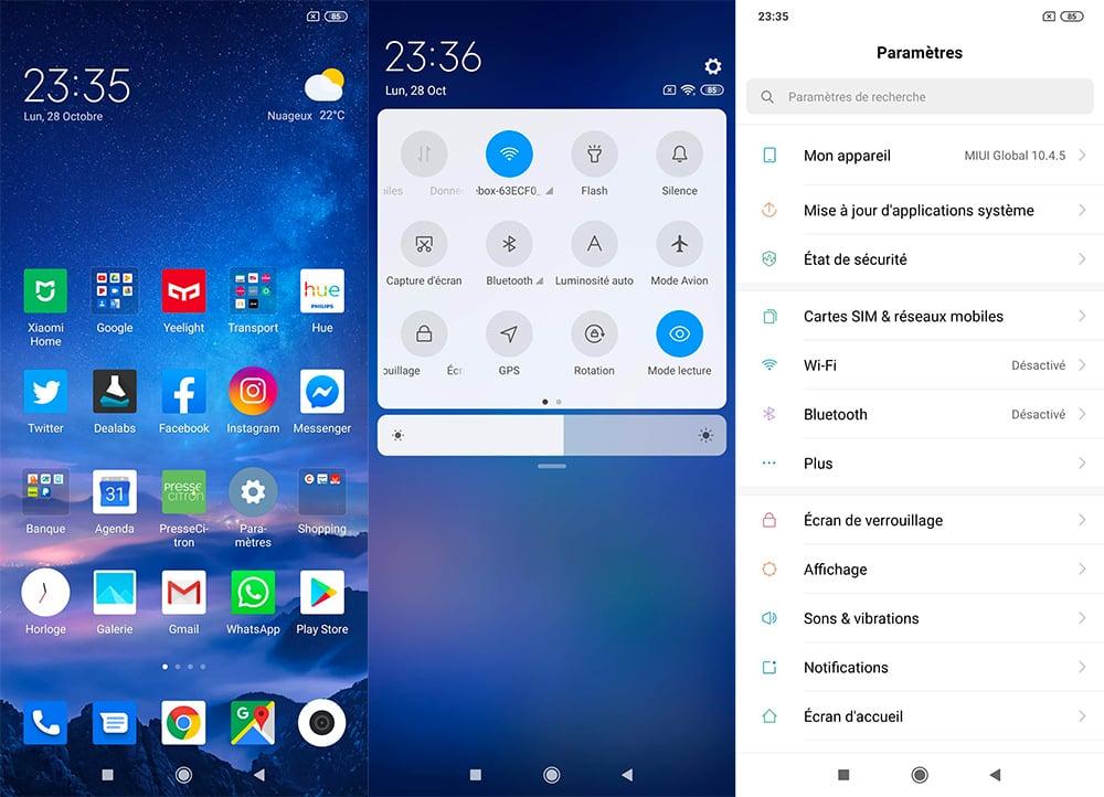 Interface du Redmi Note 8 Pro