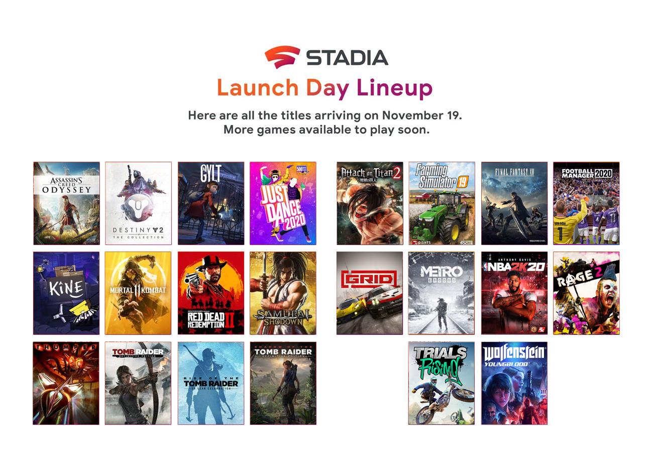 Google annonce 10 jeux supplémentaires pour le lancement de Stadia demain