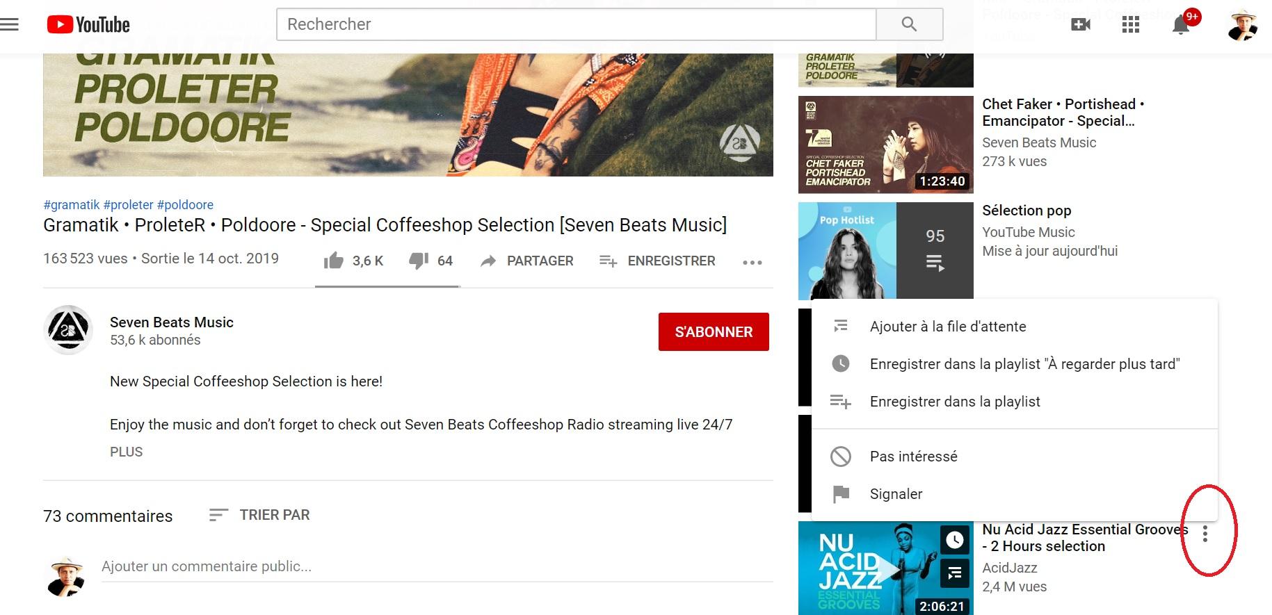 File d'attente sur YouTube