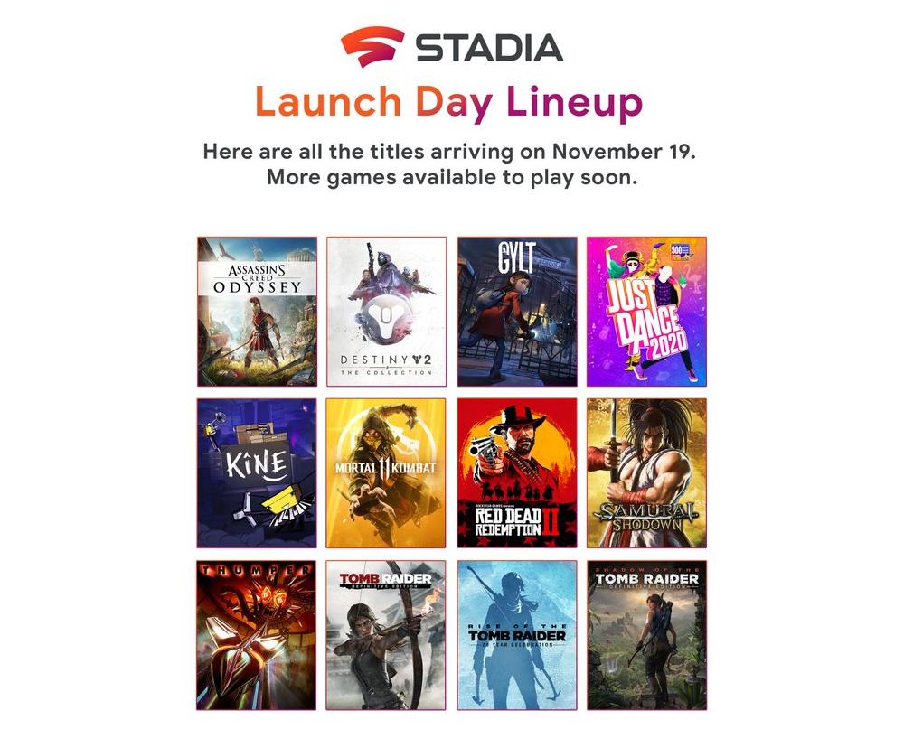 La liste des jeux Google Stadia au lancement