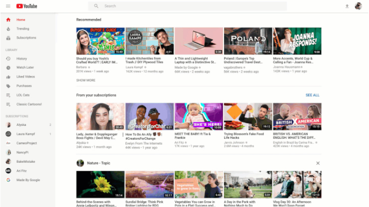 Page accueil YouTube Avant