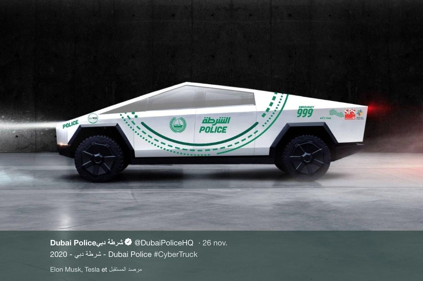 La police de Dubaï va s'offrir une flotte de Cybertruck Tesla