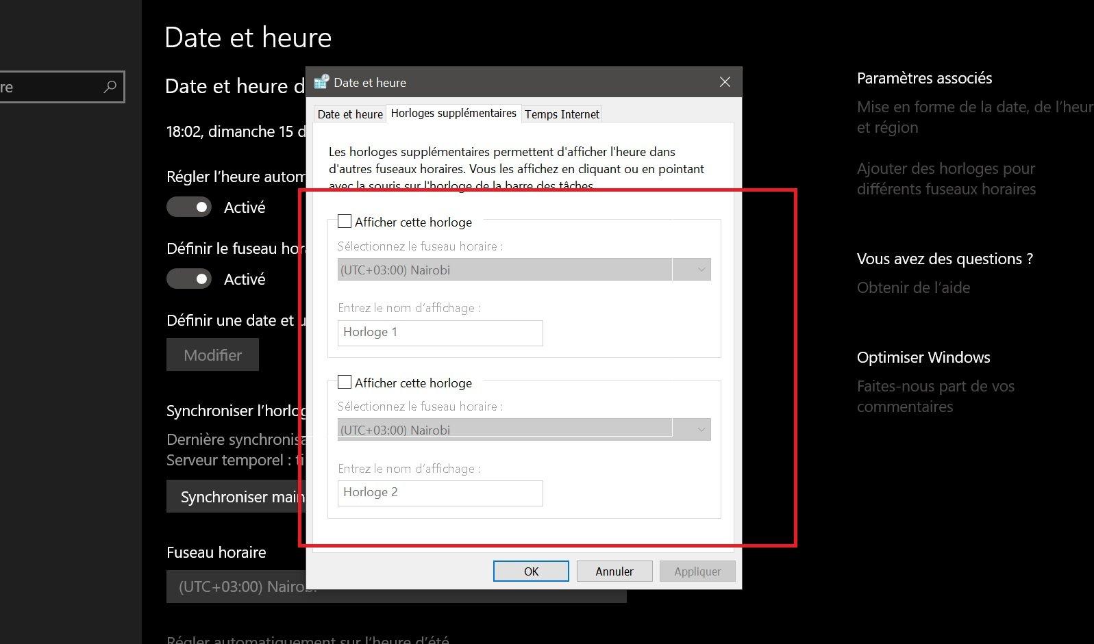 Afficher plusieurs horloges sur Windows 10