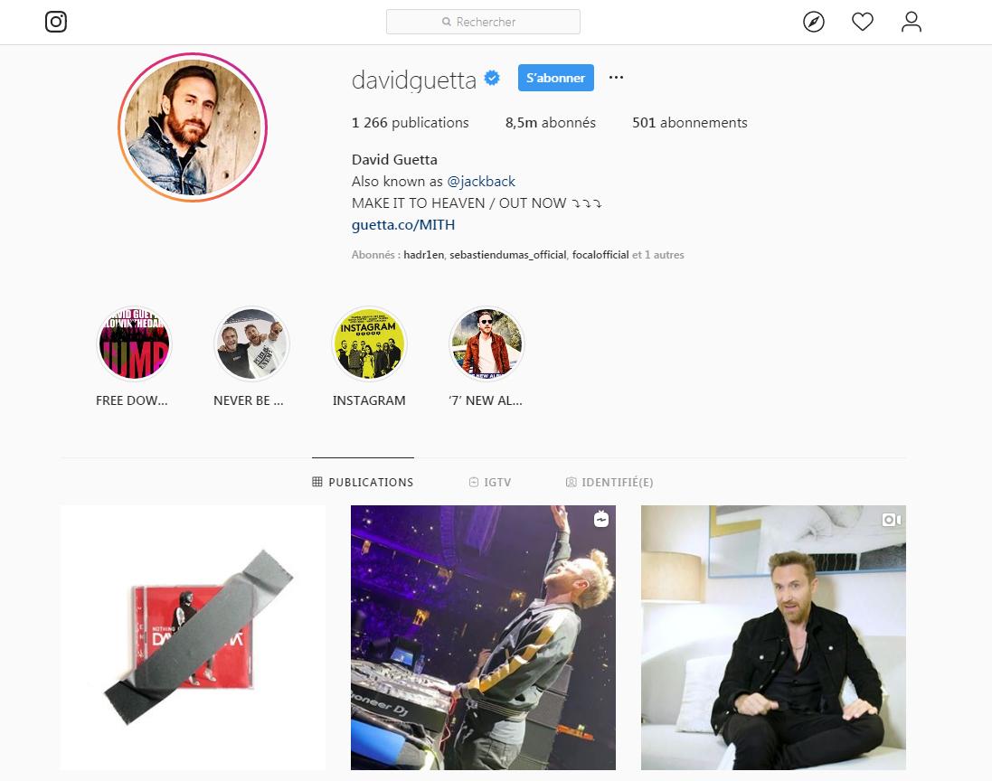 David Guetta sur Instagram