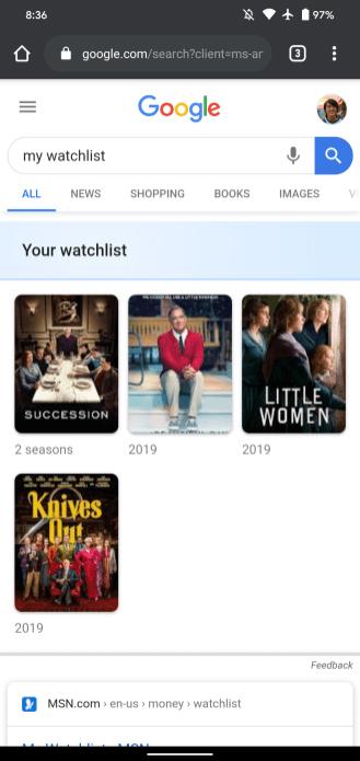 Une Watchlist sur Google Search