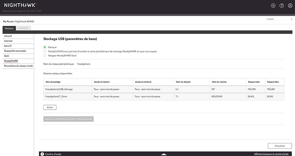 L'interface Web du Netgear Nighthawk AX8