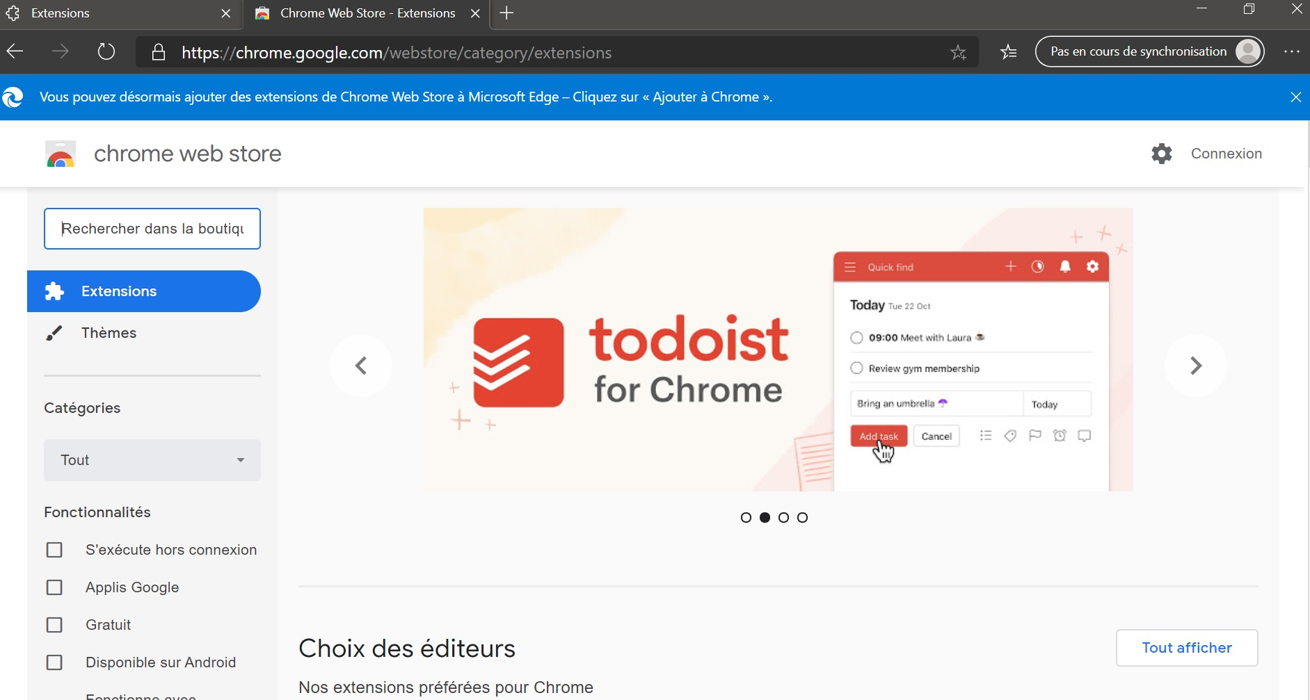 Chrome Web Store sur Egde