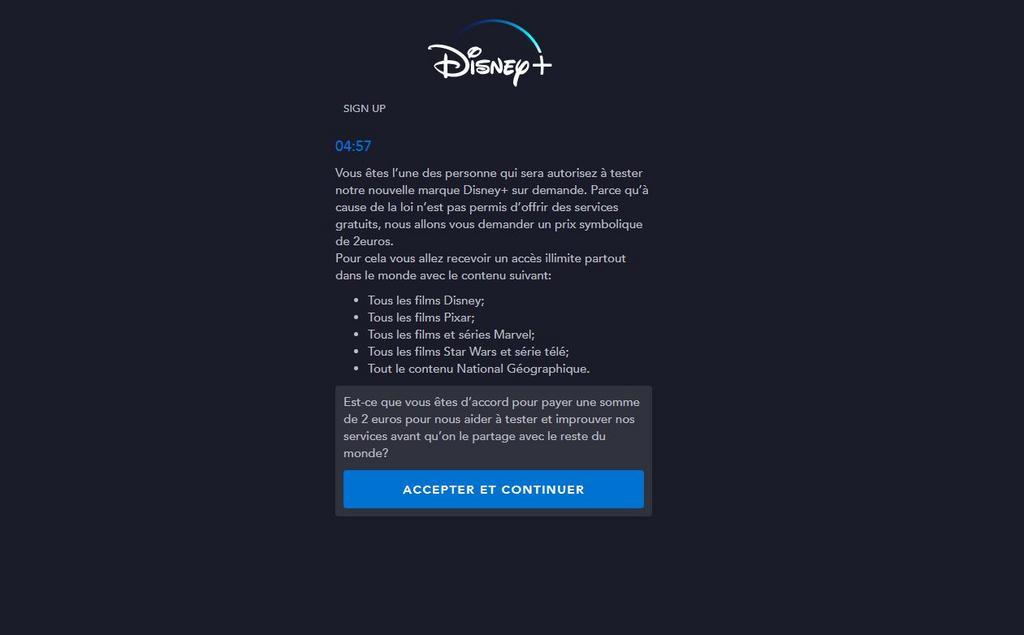 Arnaque Disney+ Bêta Test