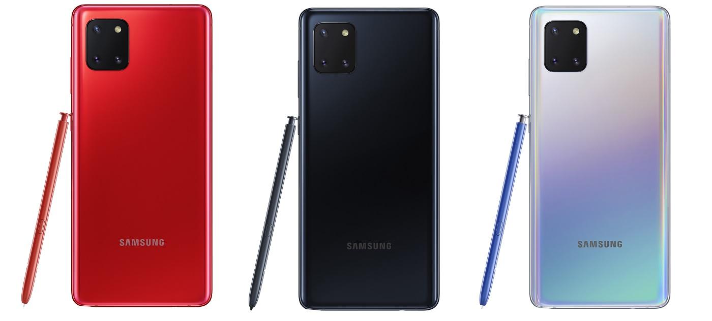 Les trois coloris du Samsung Galaxy Note 10 Lite