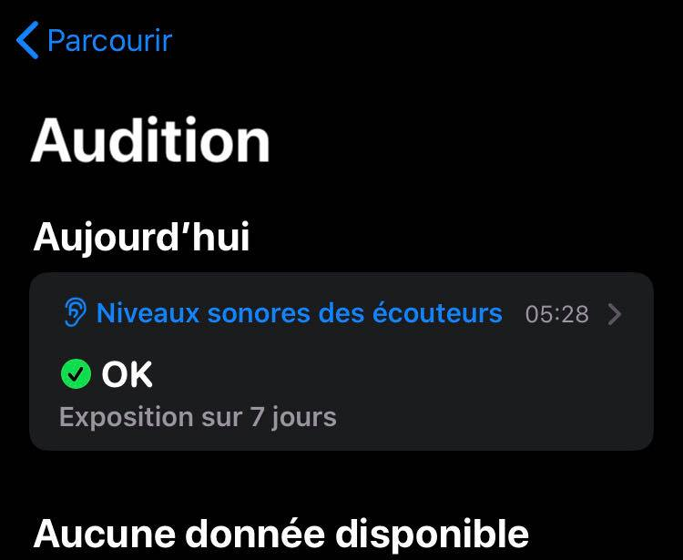 Vérification de l'audition sur l'application Santé d'iOS 13