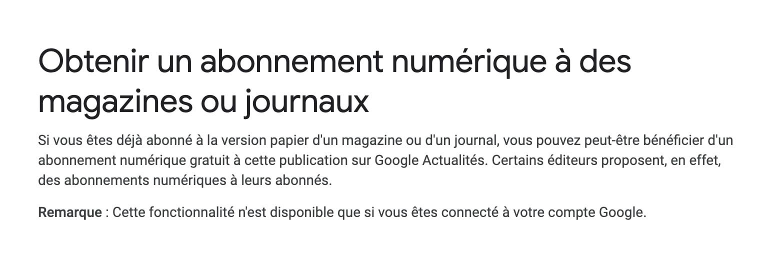 google actualites abonnements
