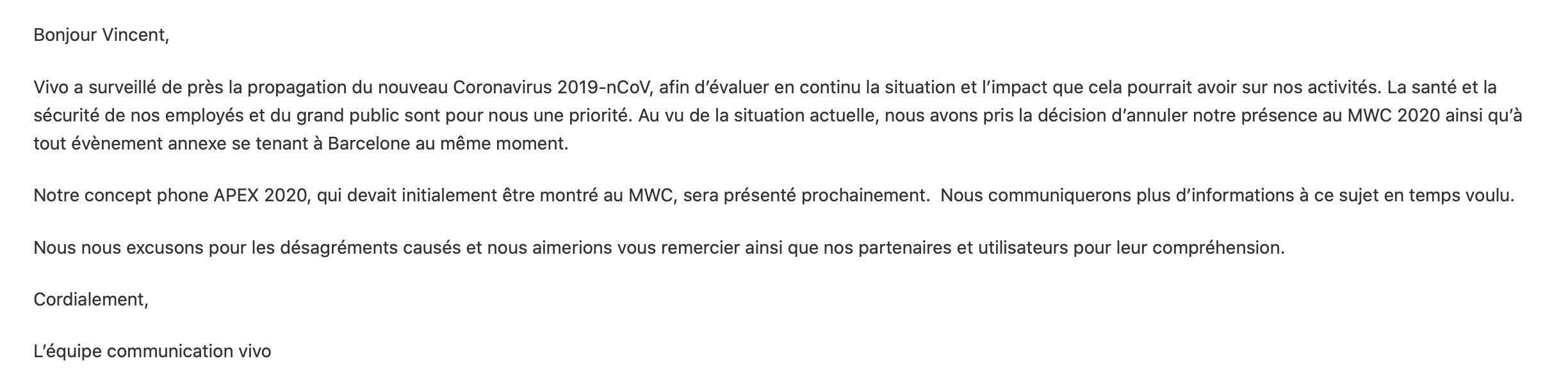Annulation Vivo MWC