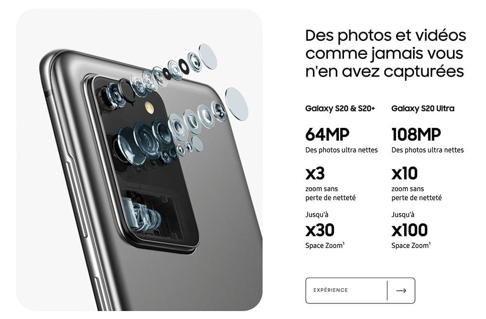 Capteurs Photos S20 Samsung
