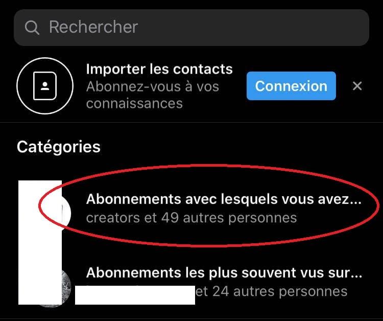 Capture d'écran sur Instagram (iOS)
